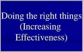Doing the right things (Increasing Effectiveness)
