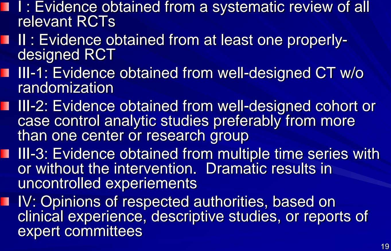I : Evidence obtained from a systematic review of all relevant RCTs II : Evidence