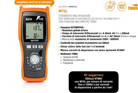 SEQUENZA AUTO IN 30 SECONDI! AUTO CAT III COD. METEL HV00075L 550V TEST M75L STRUMENTO