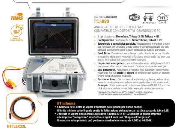COD. METEL HV0820FU PQA820 CAT IV ANALIZZATORE DI RETE TRIFASE WIFI COMPATIBILE CON DISPOSITIVI IOS/ANDROID