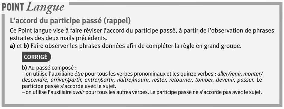 POINT Langue L'accord du participe passé (rappel) Ce Point langue vise à faire réviser l'accord