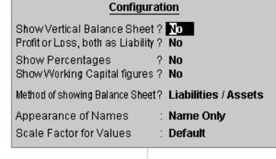 The button allows you to configure the report 29 Fig. 2.22 Show Vertical Balance Sheet: Normally,