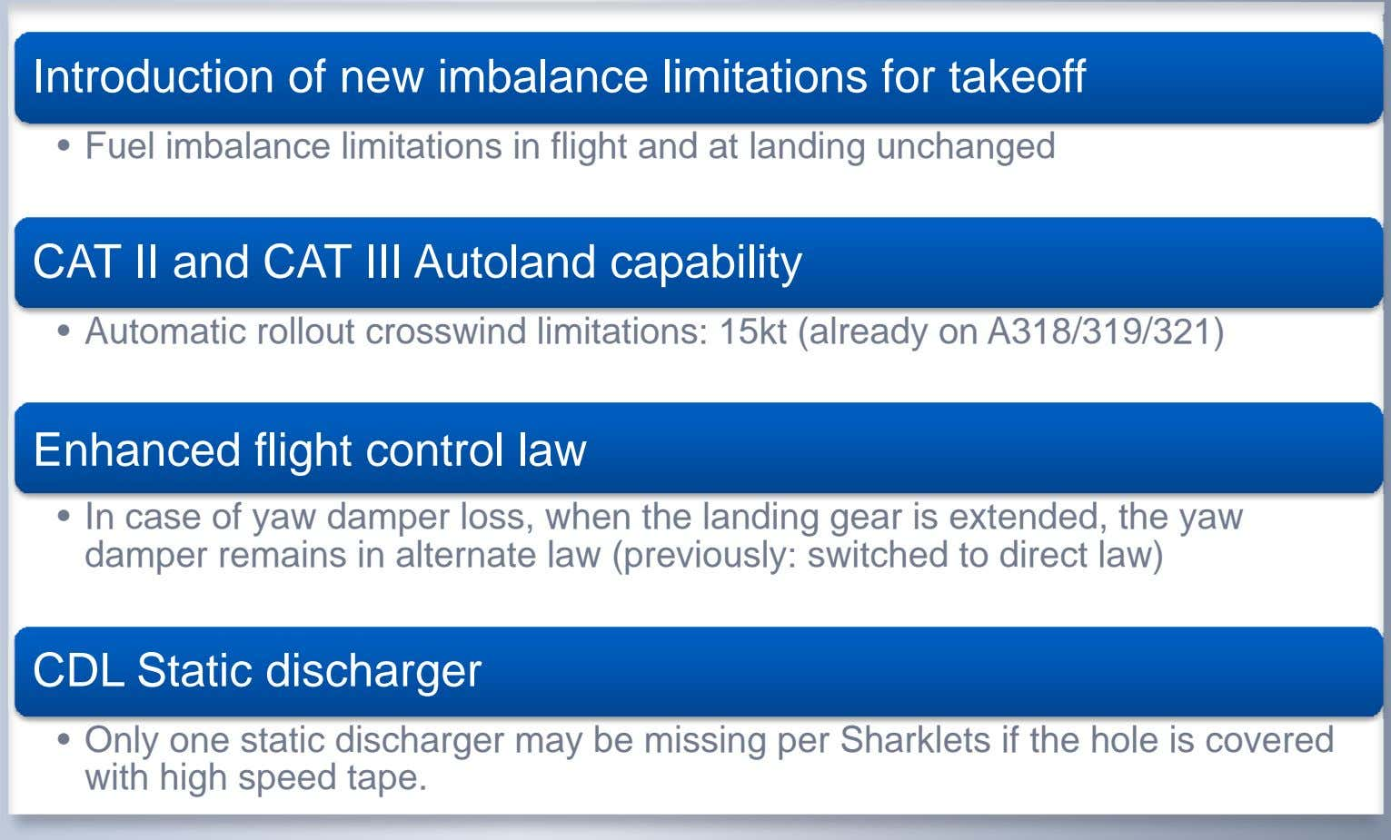 Introduction of new imbalance limitations for takeoff • Fuel imbalance limitations in flight and at