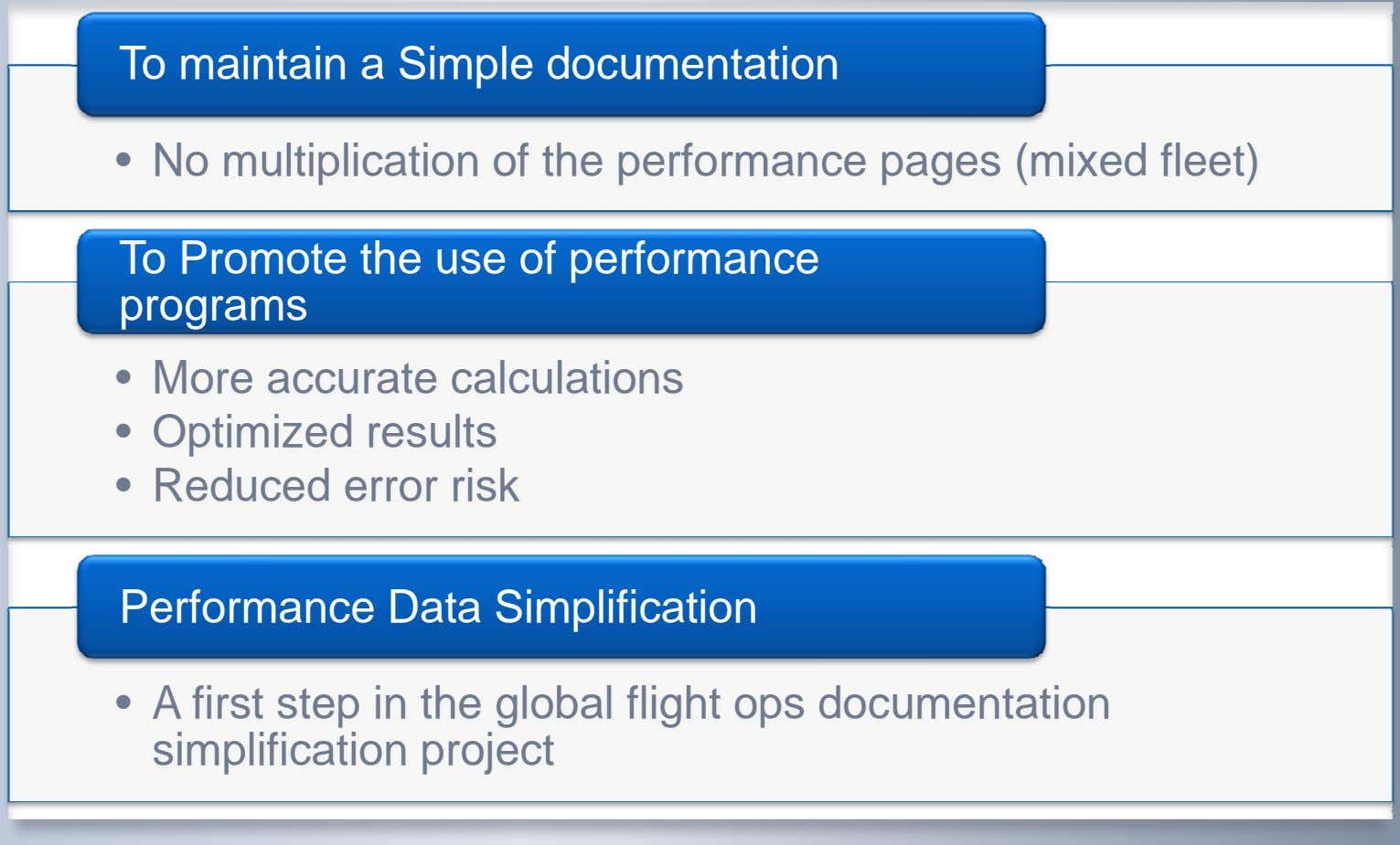 To maintain a Simple documentation • No multiplication of the performance pages (mixed fleet) To