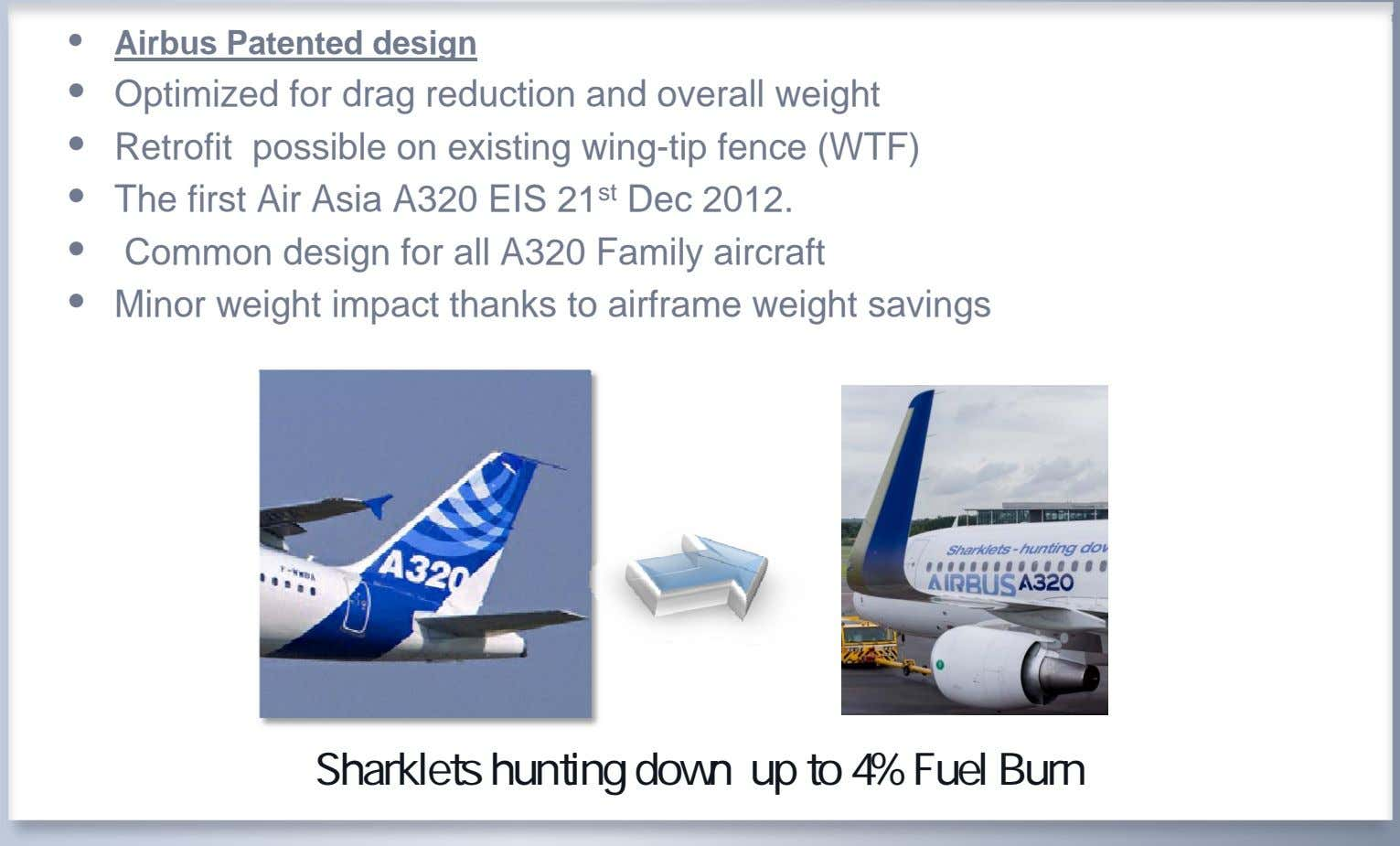 • Airbus Patented design • Optimized for drag reduction and overall weight • Retrofit possible