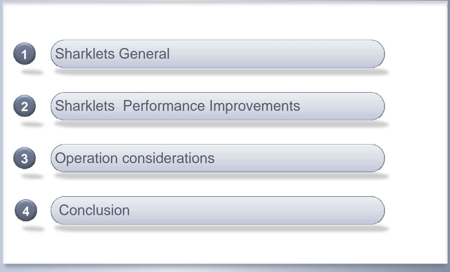 1 Sharklets General 2 Sharklets Performance Improvements 3 Operation considerations 4 Conclusion