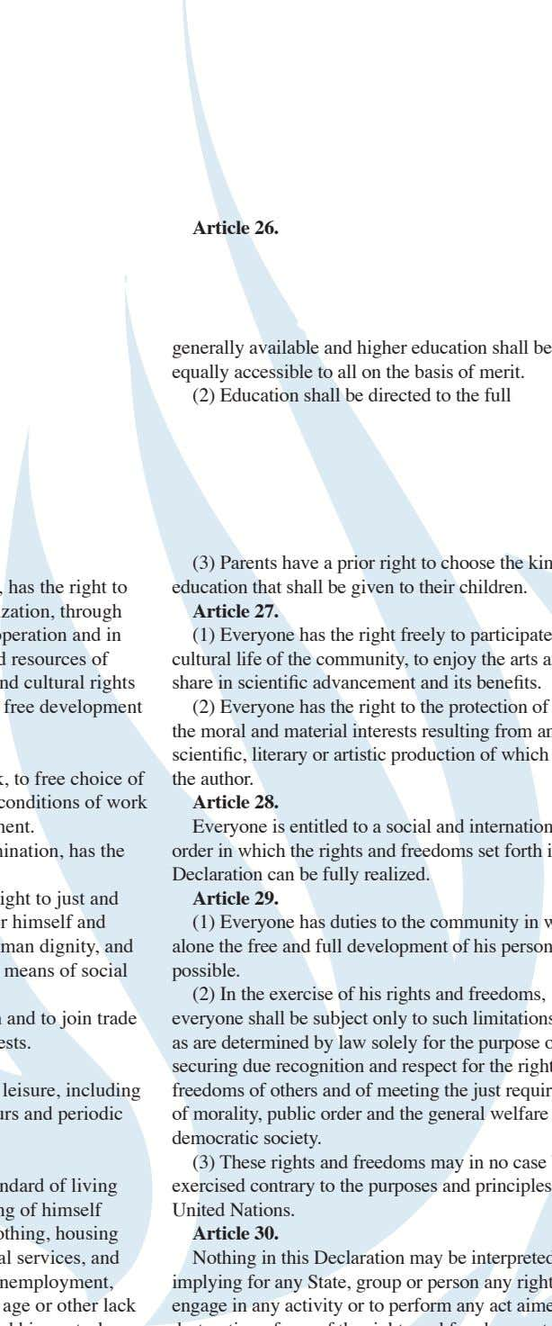 Article 26. generally available and higher education shall be equally accessible to all on the basis