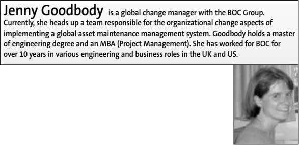 Jenny Goodbody is a global change manager with the BOC Group. Currently, she heads up