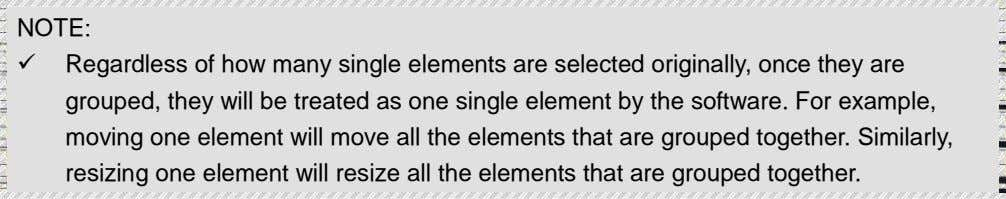 NOTE:  Regardless of how many single elements are selected originally, once they are grouped,