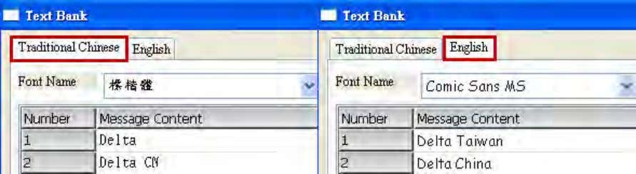 in advance in the Text Bank, as shown in Figure 2-2-4-9. Figure 2-2-4-9 Editing texts of