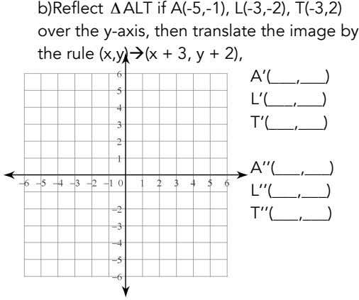 b)Reflect Δ ALT if A(-5,-1), L(-3,-2), T(-3,2) over the y-axis, then translate the image by