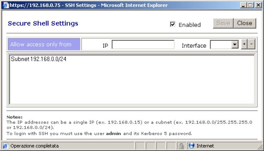 click on SSH menu and enable it for the local subnet: Save and then you will