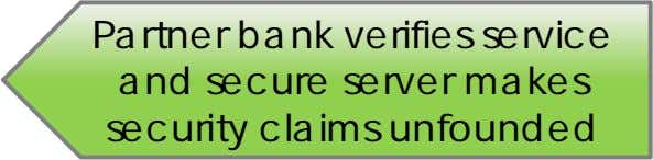 Partner bank verifies service and secure server makes security claims unfounded