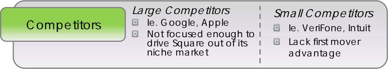 Large Competitors Small Competitors Competitors Ie. Google, Apple Not focused enou h to g drive