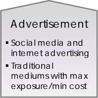 Advertisement  Social media and internet advertising  Traditional mediums with max exposure/min cost