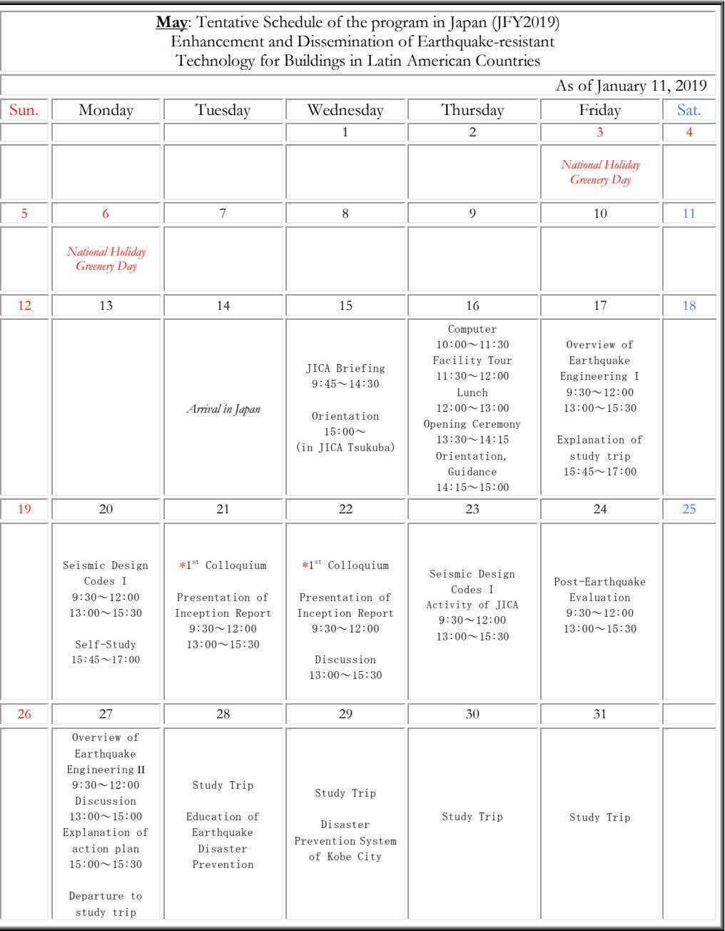 May: Tentative Schedule of the program in Japan (JFY2019) Enhancement and Dissemination of Earthquake-resistant