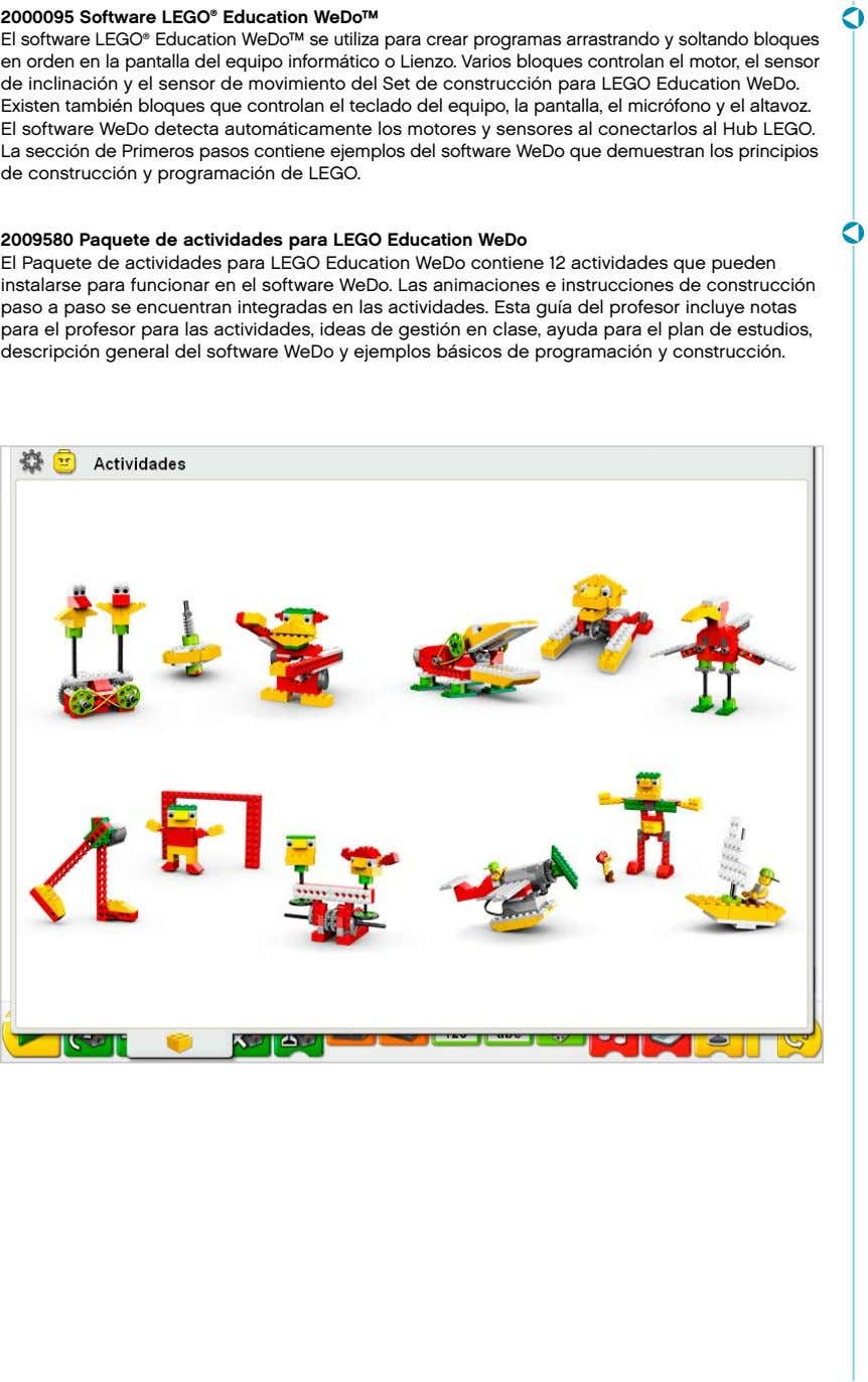 2000095 Software LEGO ® Education WeDo™ El software LEGO ® Education WeDo™ se utiliza para
