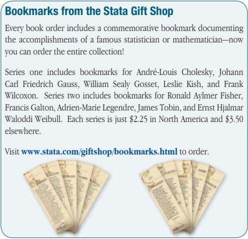 Bookmarks from the Stata Gift Shop Every book order includes a commemorative bookmark documenting the
