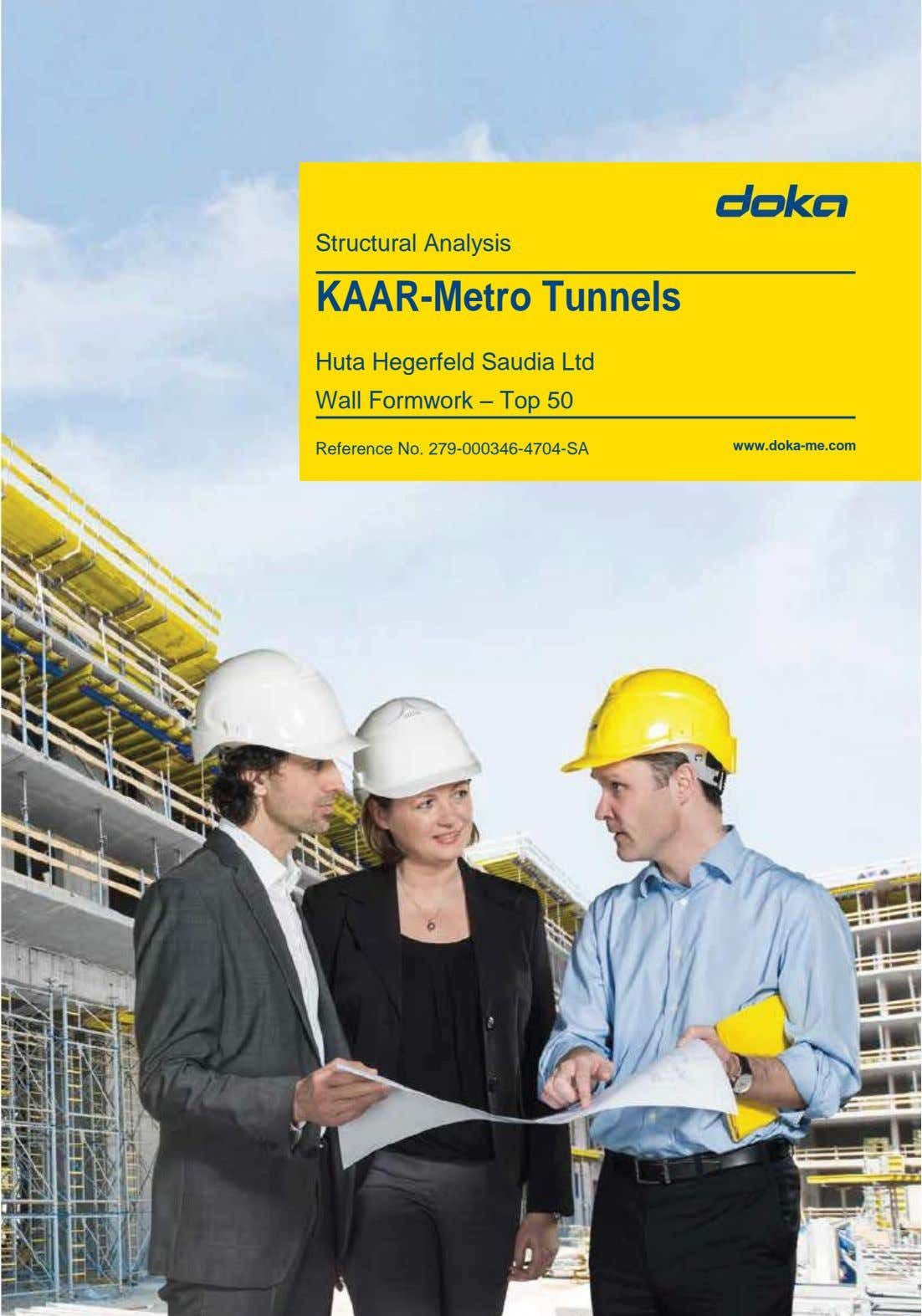 Structural Analysis KAAR-Metro Tunnels Huta Hegerfeld Saudia Ltd Wall Formwork – Top 50 Reference No.
