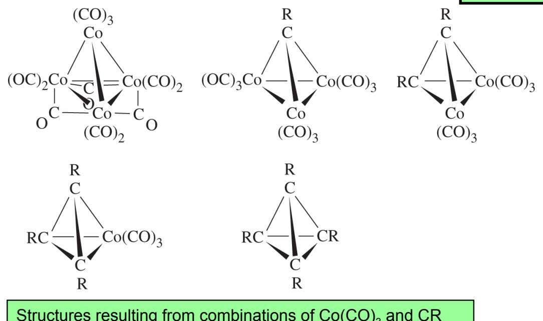 isolobal species Ir(CO) 3 , Co(CO) 3 , CR, and P Structures resulting from combinations of