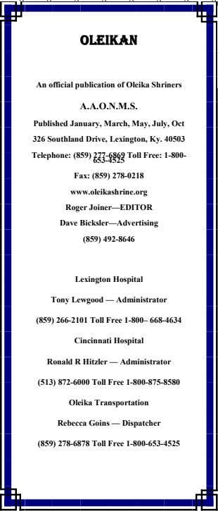OLEIKANOLEIKANOLEIKANOLEIKAN An official publication of Oleika Shriners A.A.O.N.M.S. Published January, March, May,
