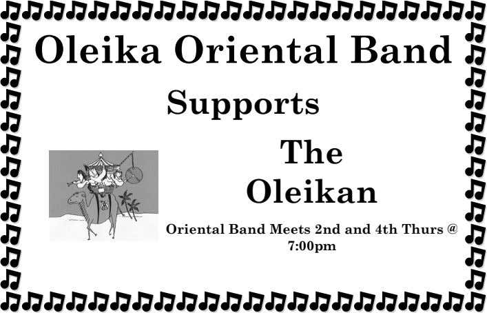 Oleika Oriental Band Supports The Oleikan Oriental Band Meets 2nd and 4th Thurs @ 7:00pm