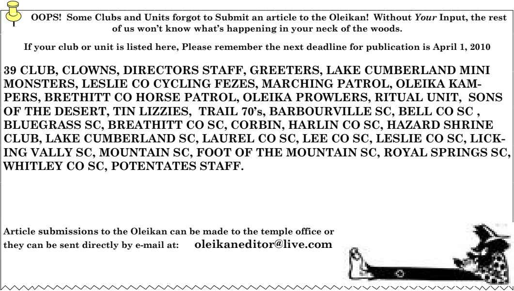 OOPS! Some Clubs and Units forgot to Submit an article to the Oleikan! Without Your