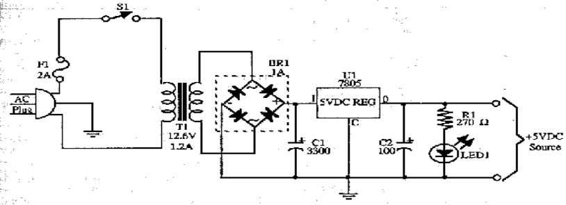 GSM BASED VEHICLE THEFT CONTROL SYSTEM 3.8.2 BASIC POWER SUPPLY CIRCUIT Fig 3.8.3 cicuit diagram of