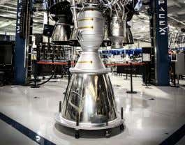 being prepared for a test firing (Aerojet Rocketdyne) A Merlin-1D engine (SpaceX) A NewtonOne engine undergoing