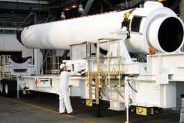 NASA's Low-Density Supersonic Decelerator project (NASA) A GEM-60 being prepared for integration on a Delta IV
