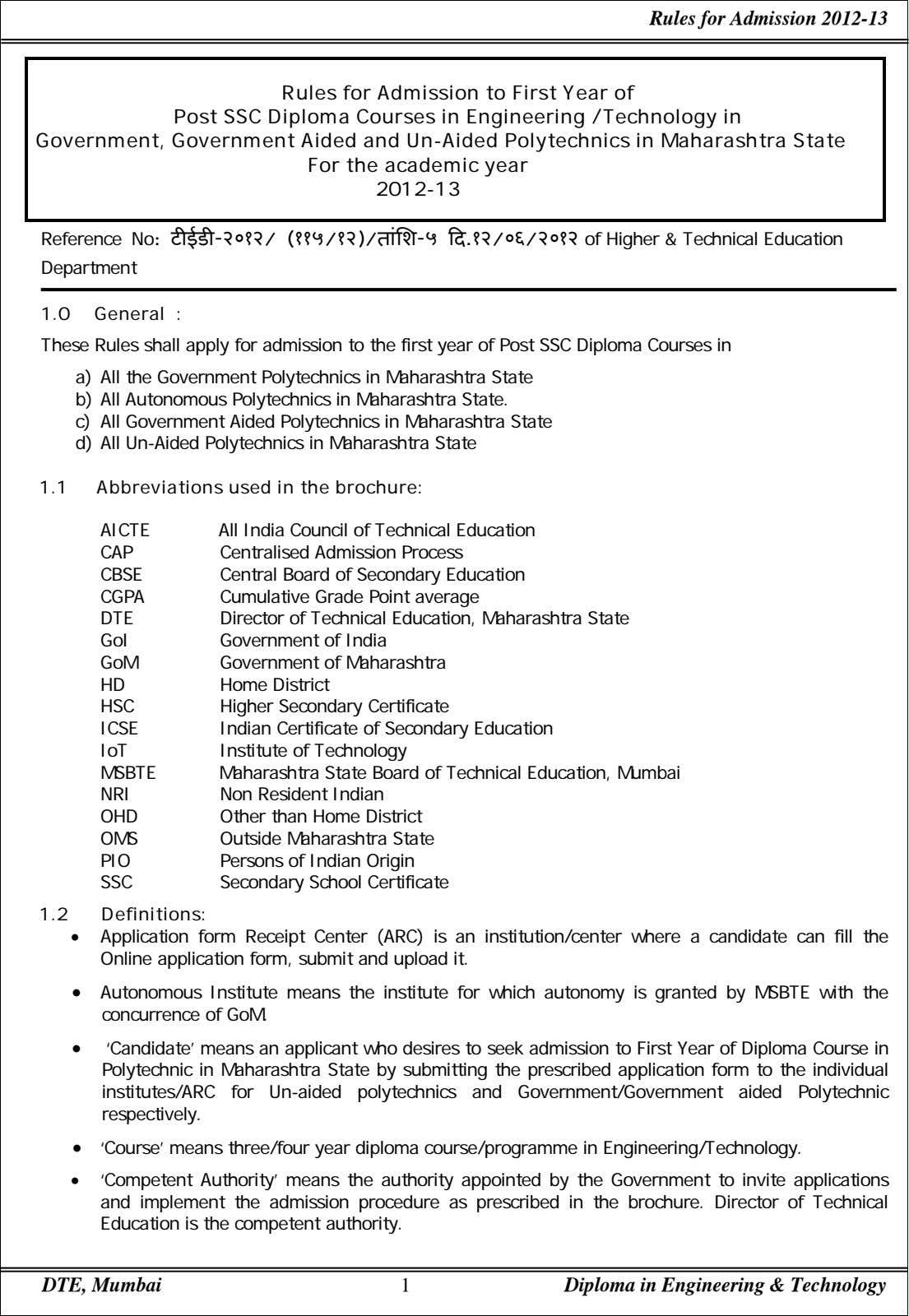 Rules for Admission 2012-13 Rules for Admission to First Year of Post SSC Diploma Courses