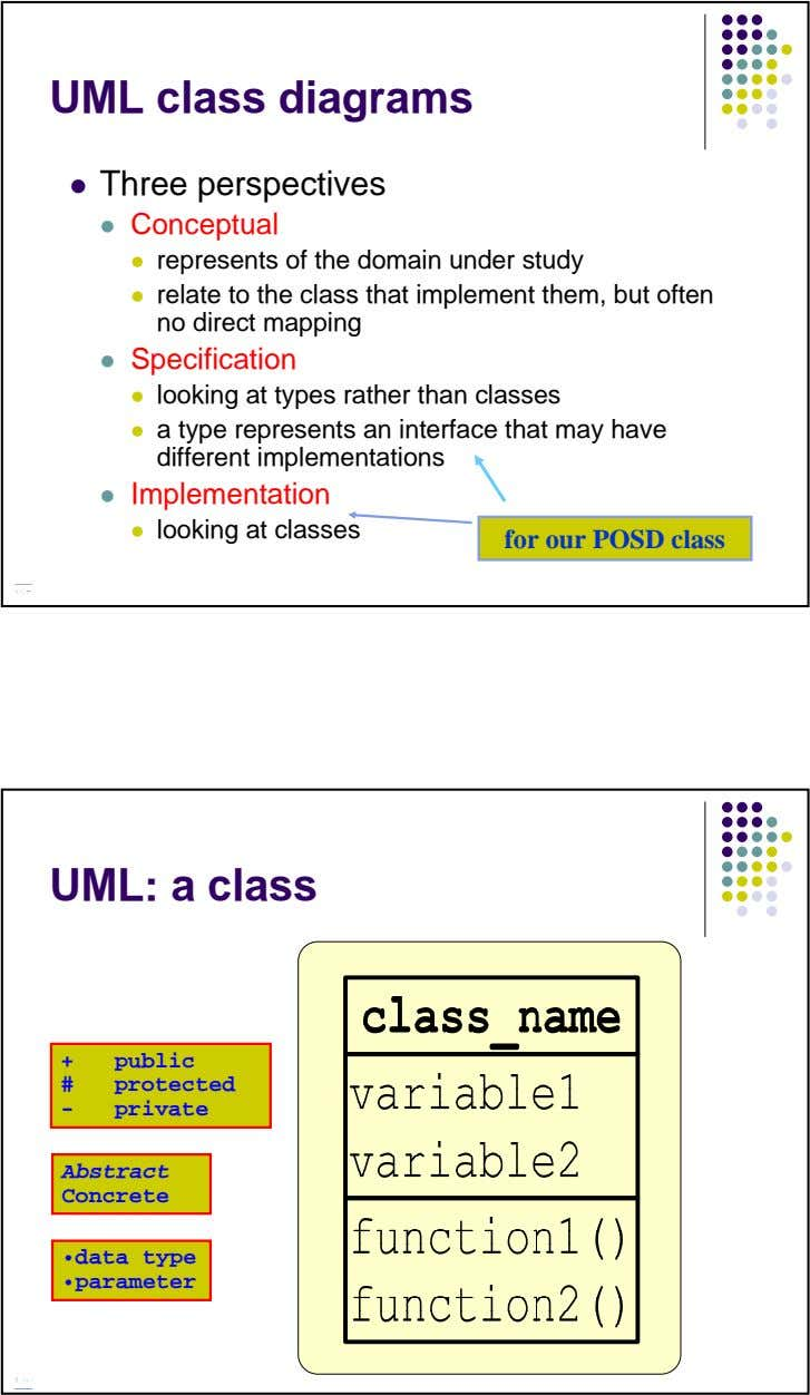 UML class diagrams Three perspectives Conceptual represents of the domain under study relate to the