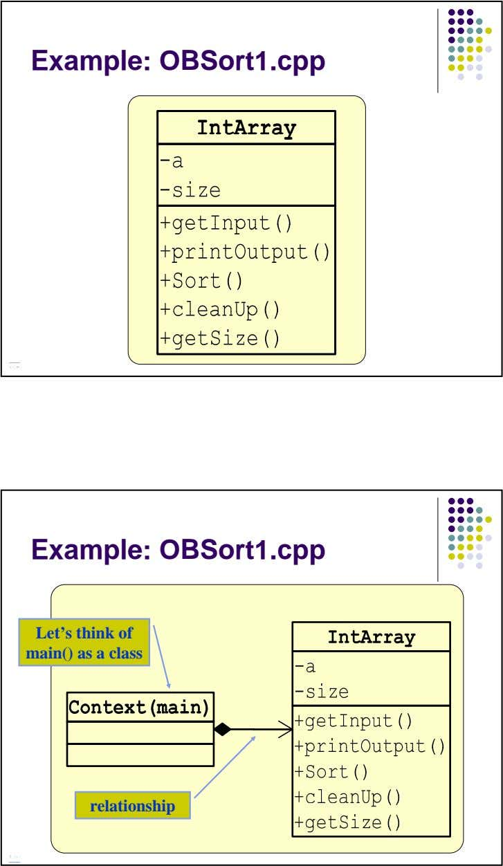 Example: OBSort1.cpp Example: OBSort1.cpp Let's think of main() as a class relationship