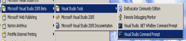 it.Same type of command prompt will be seen in 2003 also. Figure :- 1.3 Visual Studio