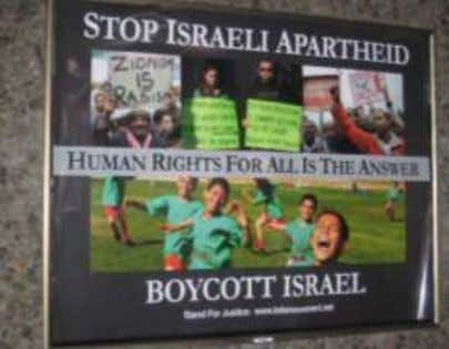"signs reading, ""Don't pink wash Israel's crimes"" San Francisco Bay Area ""culture jammers"" targeted ads"