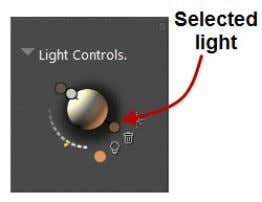 controls. The following example shows a selected light. Figure 7.1: A selected light. 2. Click the