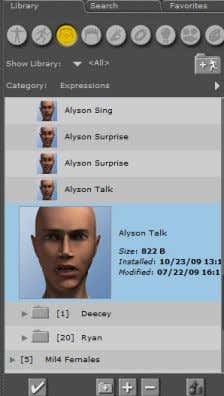 Poser 8 61 Figure 9.16: The Expressions library. 6. Drag and drop the Alyson Talk expression