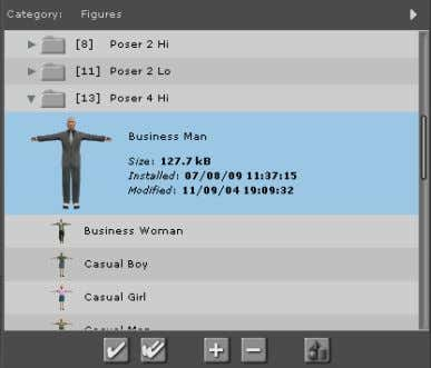 70 Poser 8 Tutorial Manual Figure 11.1: The Business Man thumbnail. To set figure color: 1.