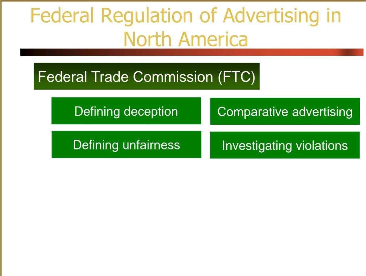 Federal Regulation of Advertising in North America Federal Trade Commission (FTC) Defining deception Comparative advertising Defining