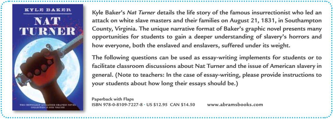 Kyle Baker's Nat Turner details the life story of the famous insurrectionist who led an