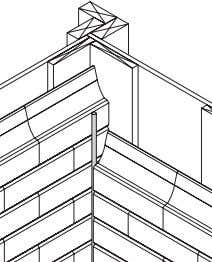 "between blocks. 90º Inside Corner - Overlapping Bricks • At each inside corner fasten 1"" x"