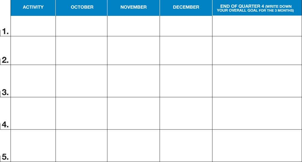 ACTIVITY OCTOBER NOVEMBER DECEMBER END OF QUARTER 4 (WRITE DOWN YOUR OVERALL GOAL FOR THE