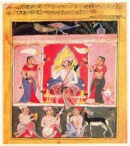 Painting of Rag Malkauns from the Mewar school (circa 1605) Die Ragas Abhogi Kanada, (Khamaji) Durga,