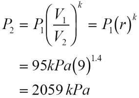 = 0.718 kJ/kg  K, k = 1.4. Process 1-2 is isentropic; therefore, recalling that r