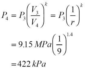 (V 3 = V 2 ) Process 3-4 is isentropic; therefore, T 4 P 3 