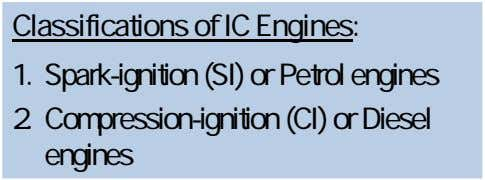 Classifications of IC Engines: 1. Spark-ignition (SI) or Petrol engines 2. Compression-ignition (CI) or Diesel