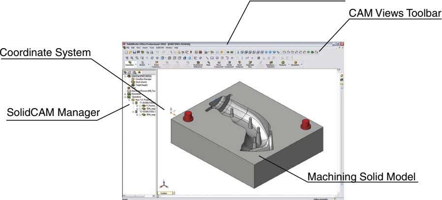 CAM Views To olbar Coordinate System SolidCAM Manager Machining Solid Model