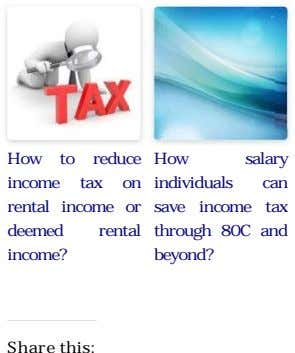 How to reduce How salary income tax on rental income or deemed rental income? individuals can