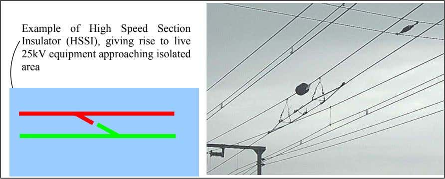 Example of High Speed Section Insulator (HSSI), giving rise to live 25kV equipment approaching isolated