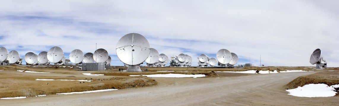 perhaps Figure 3. A panoramic view of ALMA antennas on the Chajnantor Plateau. The Messenger 162